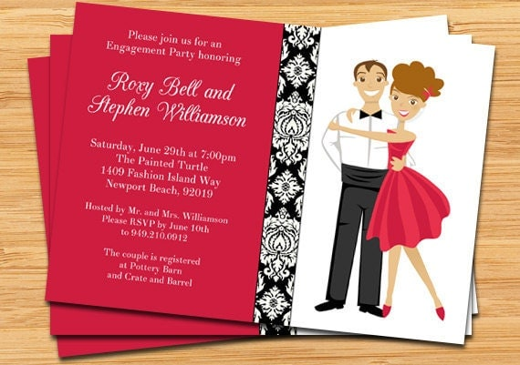 Engagement Party Invitation Modern Bride and Groom – Engagement Card Invitation