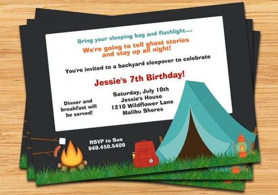 details invite your childs friends to their birthday party with this camping - Camping Party Invitations