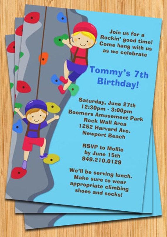 Rock Wall Climbing Birthday Party Invitation