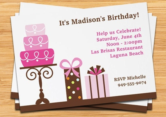 Pink cake girls birthday party invitation like this item stopboris Choice Image