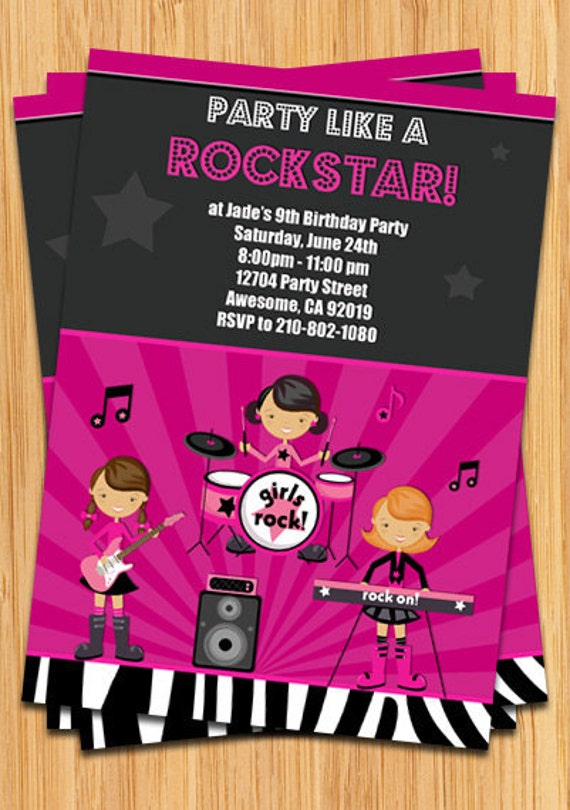 girls rock star birthday party invitation by eventfulcards catch my party. Black Bedroom Furniture Sets. Home Design Ideas