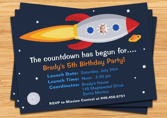 Rocket ship birthday party invitation by eventfulcards on etsy for Space themed stationery