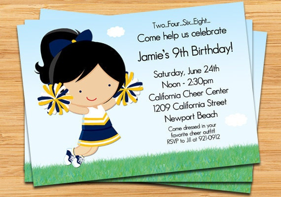 Cheerleading Birthday Party Invitation – Cheerleading Birthday Party Invitations