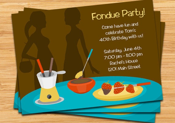 Fondue Party Invitation Digital File by EventfulCards – Fondue Party Invitations
