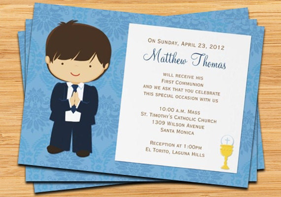 First Communion Invitation for Boy Brown Hair