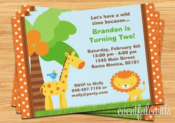 Jungle Animal Kids Birthday Party Invitation