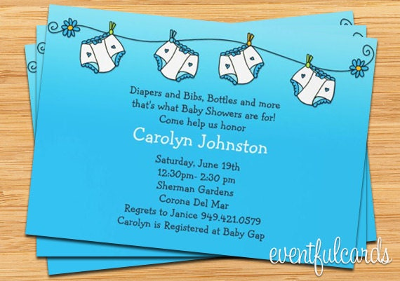 Diapers Baby Shower Invitations