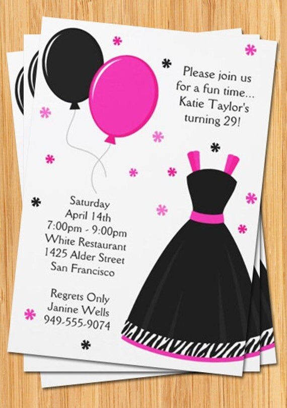 Pink and Black Party Invitation Zebra Print Dress and – Dress Up Party Invitations