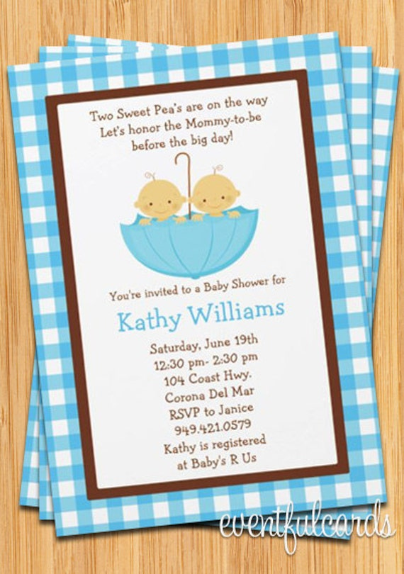 twins baby shower invitation boys in blue umbrella,