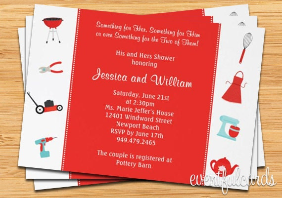 Gifts Using Wedding Invitation: Couple Wedding Shower Invitation His And Hers Gifts