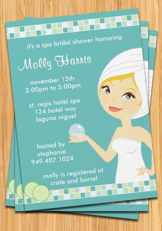 Spa Party Invitation Great for Birthdays Bridal Showers – Bridal Shower and Bachelorette Party Invitations