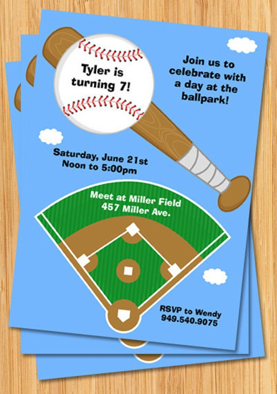 Baseball Birthday Invitation Baseball Field Customizable