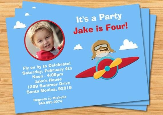 kids airplane birthday party invitation with photo, Birthday invitations