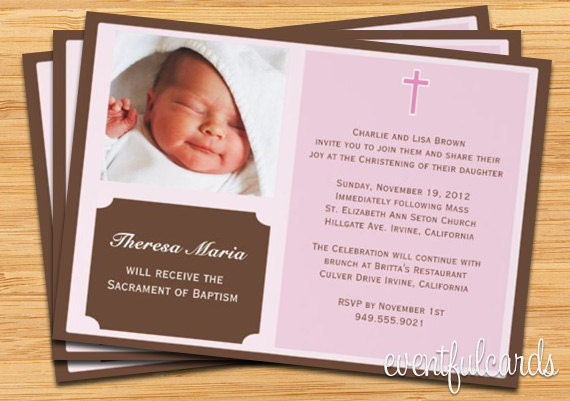 Girls Baptism Christening Invitation with Photo