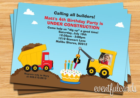Construction Birthday Party Invitation - Printable or E-card