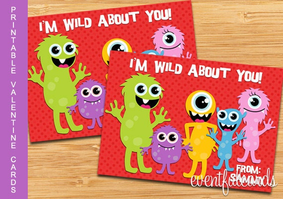 Cute Monster Printable Valentines Day Cards for Kids
