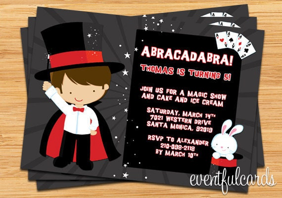 Magician Birthday Party Invitation Printable by EventfulCards