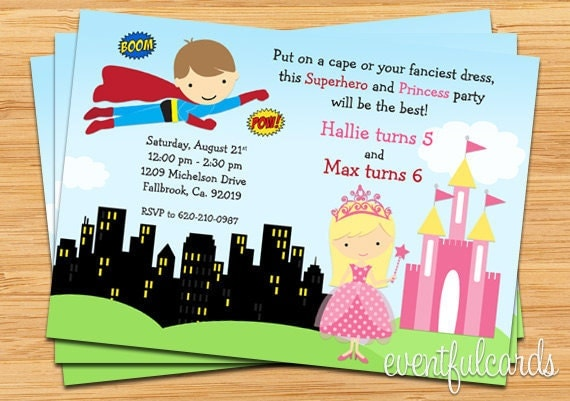 details superhero and princess birthday party - Superhero Birthday Party Invitations