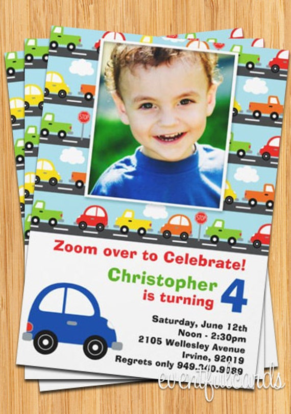 Cute cars invitation – Car Party Invitations