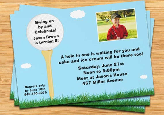 Golf Birthday Party Invitation Customize with Photo – Golf Party Invites