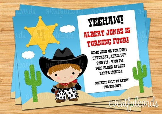 details please specify hair color when ordering cowboy birthday party invitations - Cowboy Party Invitations