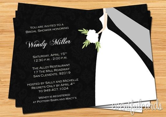 Black and white damask bridal shower invitation for Black and white bridal shower invitations