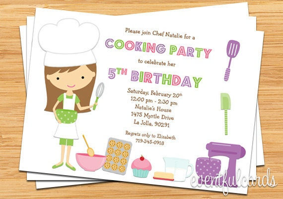 Kids Baking Birthday Party Invitation Printable – Printable Kids Birthday Party Invitations