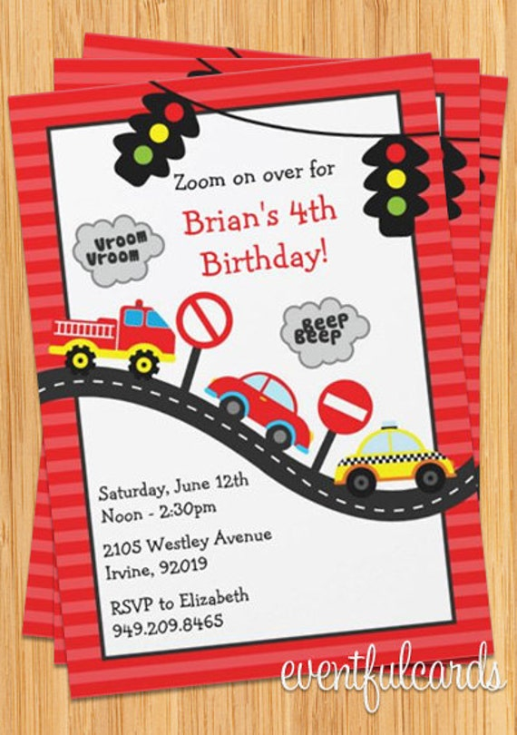 Cars Invitation Card Template Free: Cute Kids Car Birthday Party Invitation By EventfulCards