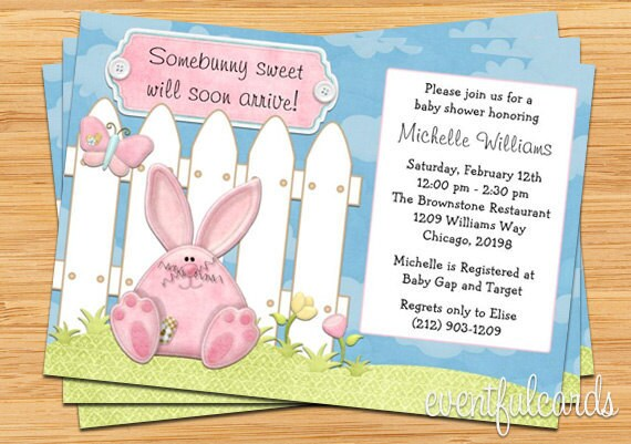 bunny baby shower invitation  boy or girl  printable by, Baby shower invitations