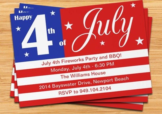 4th of july party invitation us flag 5x7 printable, Party invitations