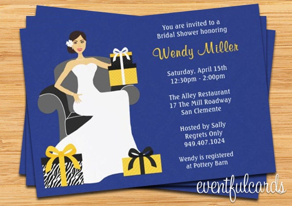 Navy and Yellow Bridal Shower Invitation - 5x7 - Printable