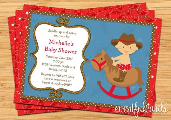 Western Cowboy Baby Shower Invitation 5x7 Printable