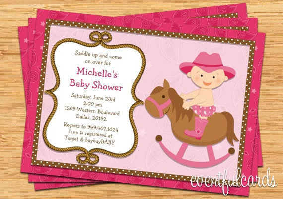 Western Cowgirl Baby Shower Invitation 5x7 Printable