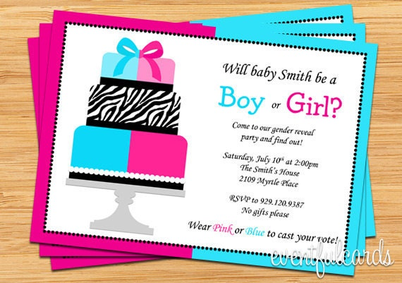 Gender Reveal Party Invitation Pink And Blue Cake