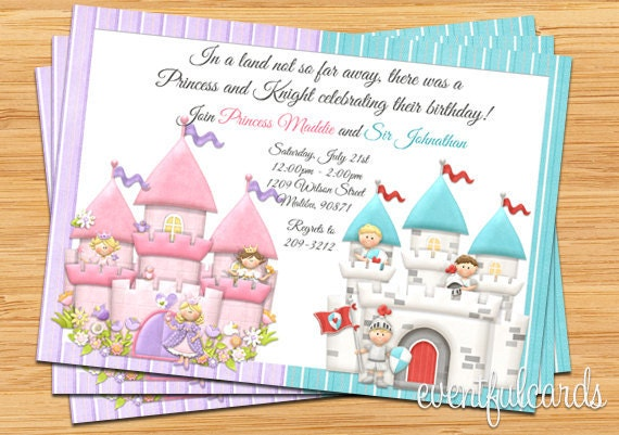 Princess and Knight Birthday Party Invitation by EventfulCards – Princess and Knight Party Invitations