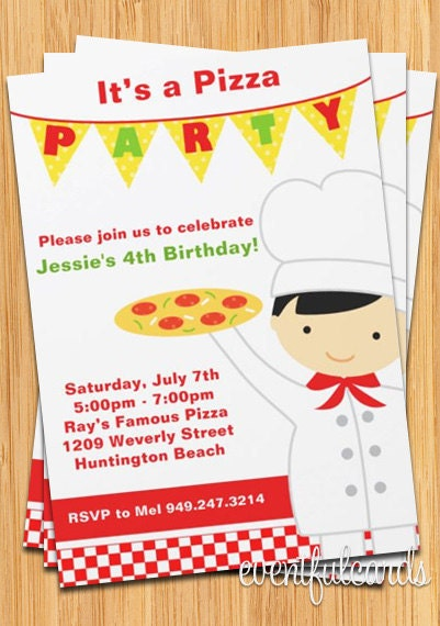 Pizza Party Birthday Invitation For Boy By Eventfulcards