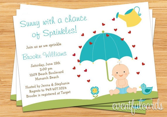 baby sprinkle shower invitation for boy also available in