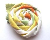 Girls Vintage Fabric Rosette Flower Hair Clip - Citrus Punch - Lemon Orange Lime - Summertime