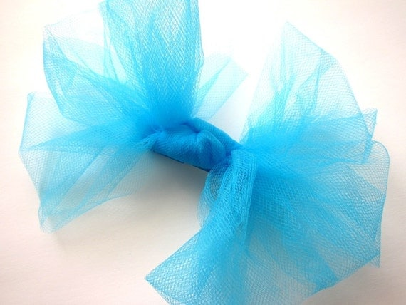 The Bratty Bow - Big Fluffy Hair Clip - Kapow Neon Blue Turquoise Aqua 80s Material Girl - Pop Color Music Rocker Chic