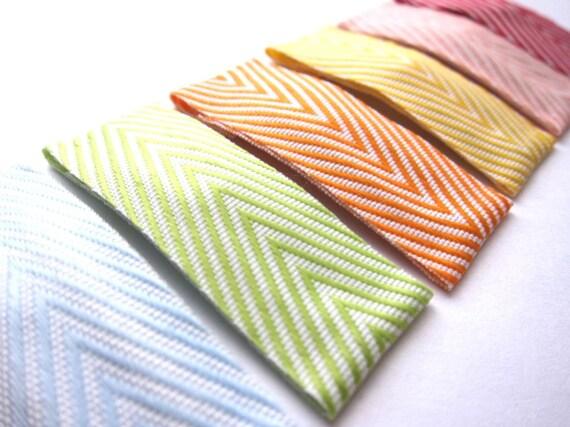 Set of 6 Rainbow Chevron Hair Clips Snap Barrettes - Geometric . Spring . Happy . Bright . Modern . Simple . Stripes . Spectrum . Fresh