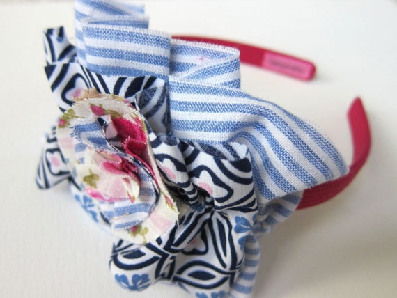 Boho Ruffle Fabric Headband Hair Band for Girls - Summer Seaside Tea Party - Calico Blossom Frilly Preppy Shabby Chic Blues Pinks Stripes