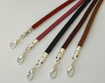 """25pcs Faux Suede Cord Necklaces Black Brown White Lavender Blue Green Pink 14"""" 16"""" 17"""" 18"""" 19"""" 20"""" 22"""" 24"""" 26"""" 28"""" Handmade in USA"""