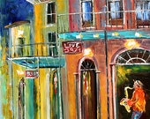 Commission a custom New Orleans Cityscape Original Oil Painting ABSTRACT TEXTURE palette knife fine art by Karen Tarlton