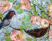 Original oil painting by Karen Tarlton Mama Bird - impasto palette knife bird and nest painting