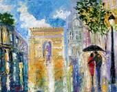 Reserved for Charlotte - Original oil painting Paris Rain Romance - impressionism city Landscape on canvas fine art by Karen Tarlton