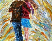 Original Oil Painting - Rain Romance - impressionism figurative art on canvas palette knife by Karen Tarlton