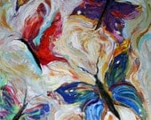 Original oil painting BUTTERFLIES MODERN CONTEMPORARY Abstract impressionism palette knife fine art by Karen Tarlton