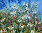 Original oil painting flowers LANDSCAPE palette modern knife fine ART abstract impressionism by Karen Tarlton