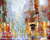Original painting City Rain NIght Lights landscape modern impressionism fine art by Karen Tarlton