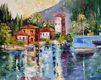 TARLTON LIMITED Edition Art Giclee Print Lake Como Reflections - Italy palette knife modern impressionism
